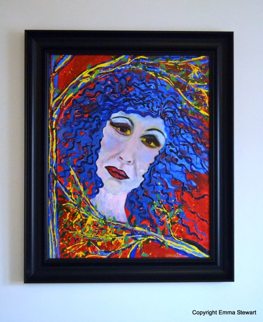 Lady in the Trees. Statement piece. Large, vibrant, colourful. For Sale~ £270